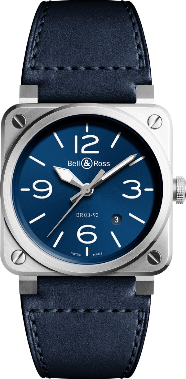 montre homme bell&ross automatique br03-92 avignon BR0392-BLU-ST-SCA